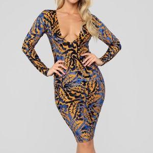 Velvet Print Midi Dress